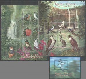 PK165 TUVALU FAUNA BIRDS OF TUVALU & THE SOUTH PACIFIC 1BL+2KB MNH STAMPS