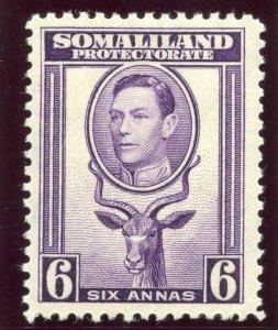 Somaliland 1938 KGVI 6a violet MLH. SG 98. Sc 89.