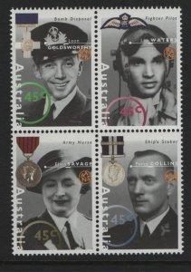 AUSTRALIA, 1455A, BLOCK(4), MNH, 1995-2005, FAMOUS AUSTRALIANS FROM WORLD WAR II