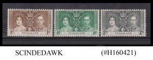 NYASALAND - 1937 KGVI CORONATION - 3V - MINT NH