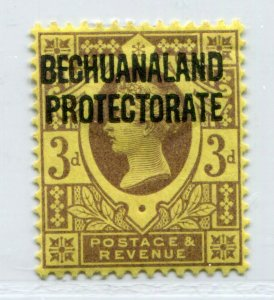 QV BRITISH BECHUANALAND VICTORIA 3p YELLOW OVERPRINT SCOTT 72 SG 63 VF MH