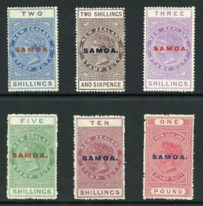Samoa 1914 NZ Postal Fiscal Opt Basic set of 6 Fresh M/Mint