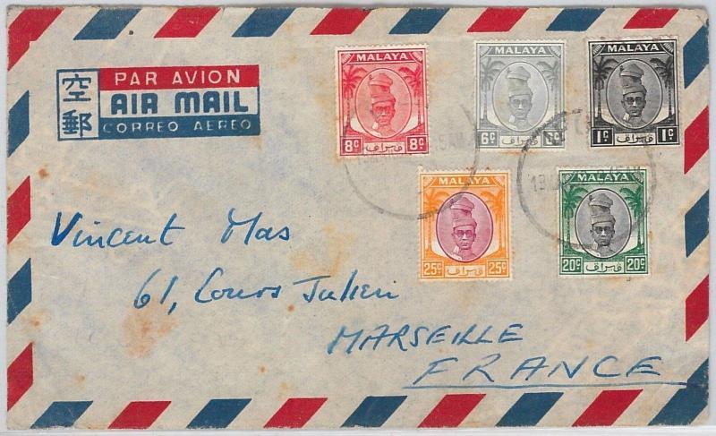 MALAYA PERAK -  POSTAL HISTORY -  AIRMAIL COVER  to FRANCE 1950