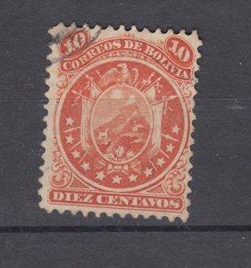J28569 1868-9 bolivia used #16 coat of arms