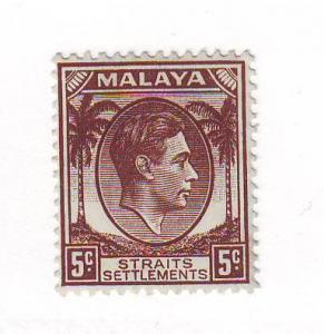 Straits Settlements Sc 241  1937 5 c  G VI stamp mint