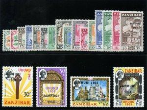 Zanzibar 1964 QEII set complete superb MNH. SG 414-433. Sc 285-304.