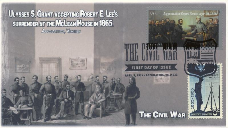2015, SC 1182, Battle of Appomattox, Civil War, BW Pictorial, Duel FDC, 15-086