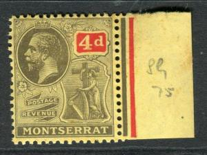 MONTSERRAT; 1922 early GV issue fine Mint hinged 4d. Marginal value
