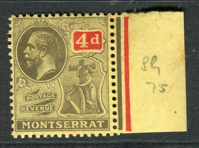 MONTSERRAT; 1922 early GV issue fine Mint hinged 4d. Marginal value