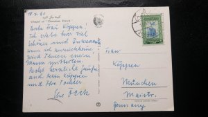 "RARE PALESTINE TO GERMANY 1961 ""CHAPEL OF DOMINUS FLEVIT"" JERUSALEM CANCEL"