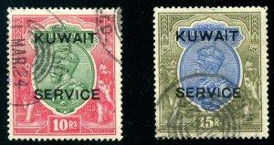HERRICKSTAMP KUWAIT Sc.# O13-14 1923-24 KG V High Values Used