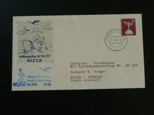 first flight cover Lufthansa 1959 Hamburg to Nice 92374