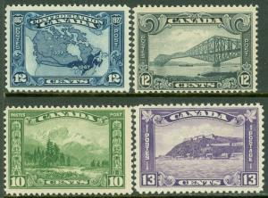 EDW1949SELL : CANADA 1927-32 Sc #145, 55, 56, 201 Nice group of all PO Fresh MNH