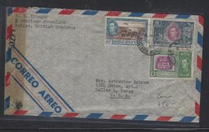 BRITISH HONDURAS COVER (P3105B) 1944 KGVI 1C+5C+15C CENSORED A/M TO USA