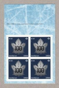 HOCKEY = 100th Ann MAPLE LEAFS = Booklet page of 4 stamps Canada 2017 MNH