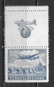 Czechoslovakia C27 50k Plane Tab single MNH