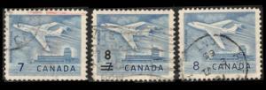 CANADA 1964 7c #414, 8c ON 7c #430, 8c #436 JET PLANE CPL SET F/VF USED