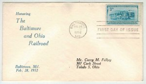 Rare Chambers FDC Not Seen! 1006 HONORING BALTIMORE AND OHIO RAILROAD Trains
