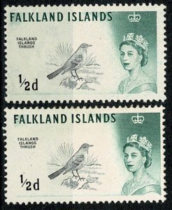 FALKLAND ISLANDS 1960 QE II  PAIR MINT HINGED (1X DLR & 1X WATERLOW) Wmk.w12 VGC