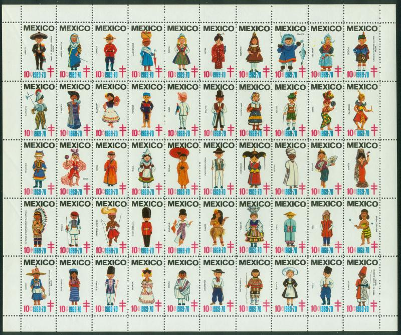 MEXICO 1969-70 TB SEALS FULL SHEET OF 50. INTERNATIONAL COSTUMES. MNH. F-VF.