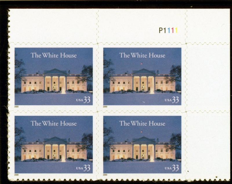 US  3445   White House 33c - Plate Block of 4 - MNH - 2000 - P1111 UR
