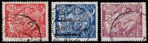 Czechoslovakia Scott 92-94 (1923) Used H F-VF Complete Set B