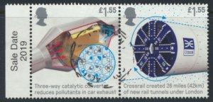 GB Used 2019 Inventions £1.55 se-tenant pair Catalytic Converter / Cross Rai...