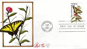 Pugh Designed/Painted Tiger Swallowtail FDC...43 of 110 created!