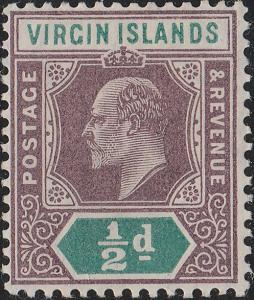 BRITISH VIRGIN ISLANDS - 1904 - SG54 1/2d dull-purple & green - Mint*