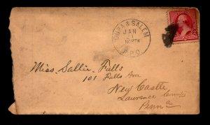 1891 Cuba & Salem NORTH RPO Cover - L21001