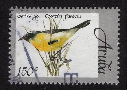 Aruba   #165   used  1998 native birds  150c