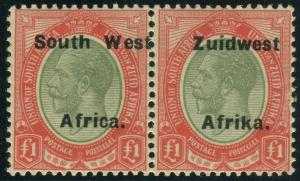 SOUTH WEST AFRICA-1929 £1 Green & Red.  A superb unmounted mint example Sg 40