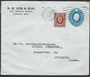 GB 1935 GV 2½d envelope PTPO uprated used to Sweden........................40628