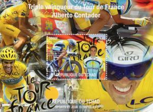 Chad 2010  Alberto Contador Cycling Le Tour de France S/S Perforated MNH