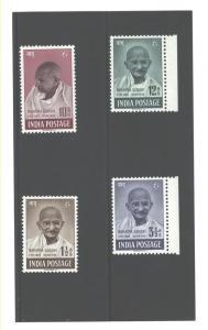 INDIA 1948 MOHANDAS K. GANDHI  #203 - 206 MNH
