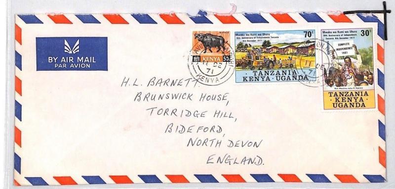 CE195 KENYA Buffalo *KUT MIXED FRANKING* Cover 1971 Air Mail Bideford {samwells}