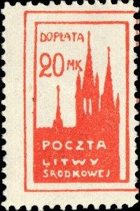 CENTRAL LITHUANIA / MITTELLITAUEN - 1921 Mi.P.6.A 20M Mint* - ref.916i