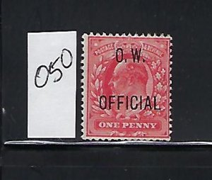 GREAT BRITAIN SCOTT #O50 1902 OFFICE OF WORKS OVPT. 1P (CARMINE) MINT NO GUM