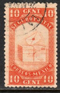 MEXICO G4, 10cents INSURED LETTER. USED. F-VF (969)