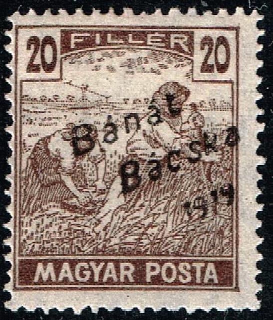 HUNGARY STAMP 1919 Hungarian Stamps Overprinted Bánát Bácska 1919 MH 20F $25