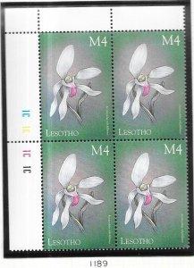 Lesotho #1189  4m Orchids of the World margin block (MNH) CV $4.00