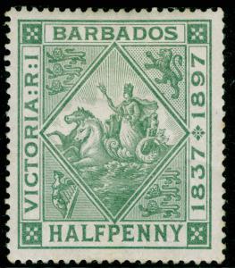 BARBADOS SG117, ½d dull green, M MINT.
