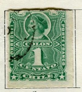 CHILE;   1881 early classic rouletted Columbus issue used 1c. value