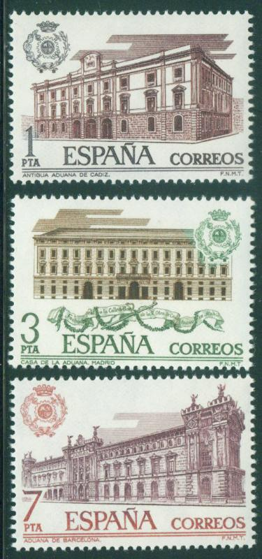 Spain Scott 1951-1953 MH* Customs Houses 1976 set