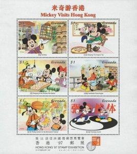 Disney Stamp Mickey Visits Hong Kong Disney Souvenir Sheet of 6 Stamps MNH