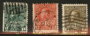 CANADA Scott MR1-3 used War Tax stamps