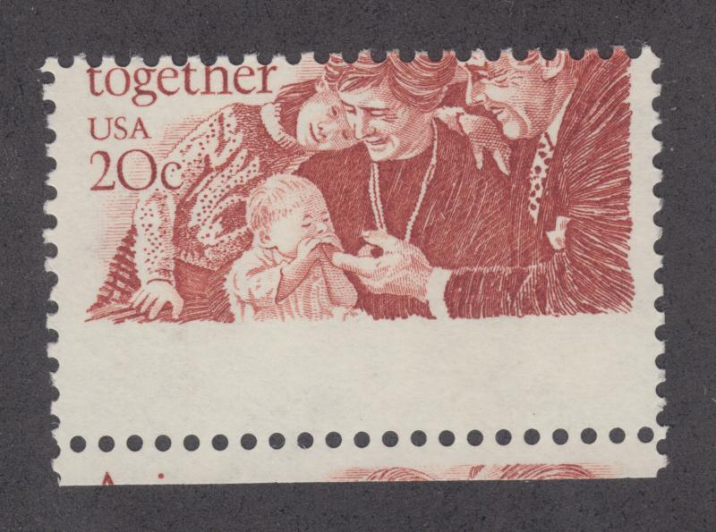US Sc 2011 MNH. 1982 20c Aging Together, MISPERF VF
