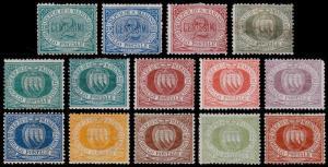 San Marino Scott 1-3, 5-6, 8-9, 11-12, 14, 16, 18-20 (1877-99) Mint H F-VF