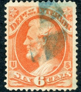 #O18 – 1873 6c ver, interior, hard paper.  Used/blue cancel.
