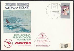 AUSTRALIA 1977 Qantas Royal Flight cover to London via Muscat etc..........57159